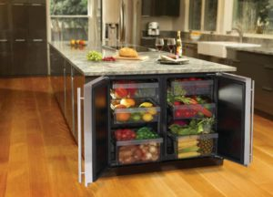 Kitchen island with fridge