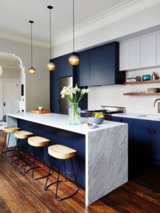 A modern kitchen style in blue