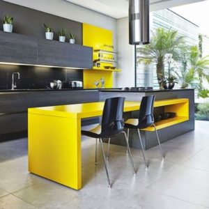 Modern kitchen design style in yellow and gray