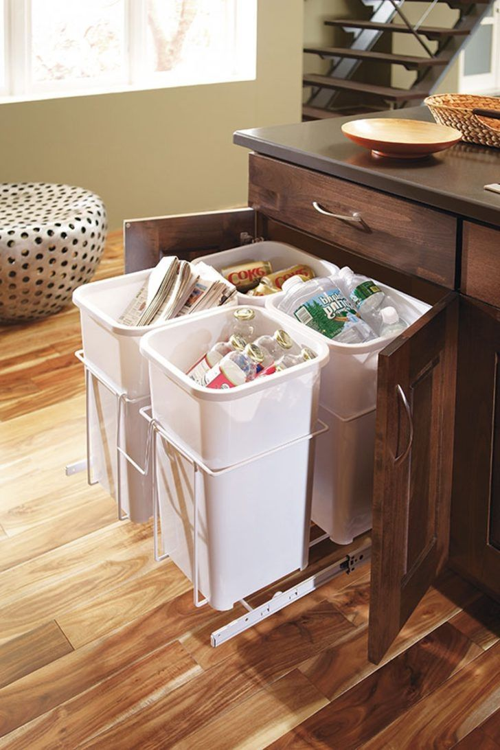 Kitchen recycling bins in designer kitchen
