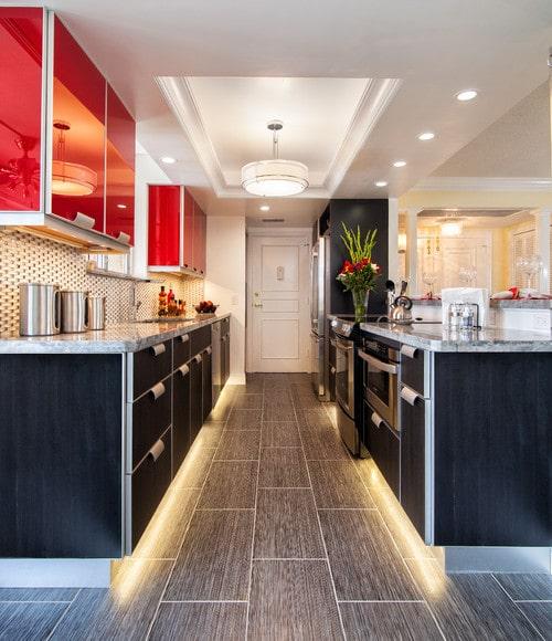 An appliance garage in a designer kitchen