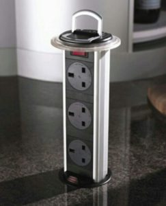 A charging station set into a kitchen counter