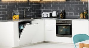 Washing machine and stove integrated into kitchen design